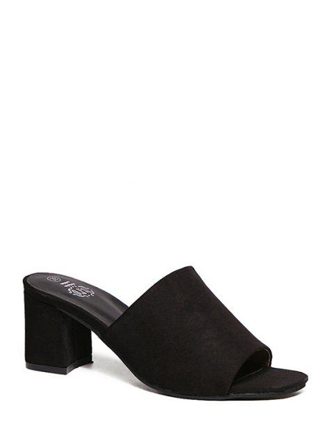 hot Chunky Heel Flock Solid Color Slippers -   Mobile