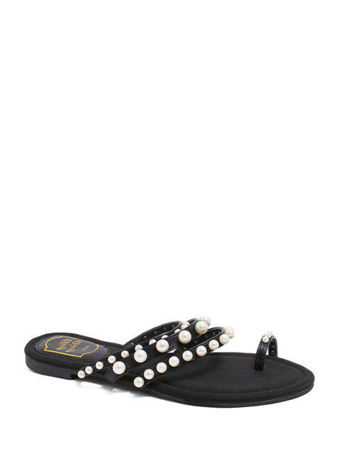 ladies Faux Pearl Toe Ring Black Slippers -   Mobile