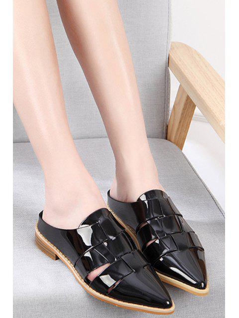 unique Pointed Toe Patent Leather Flat Heel Sandals -   Mobile
