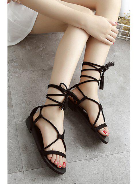 trendy Flat Heel Tassel Lace-Up Sandals -   Mobile
