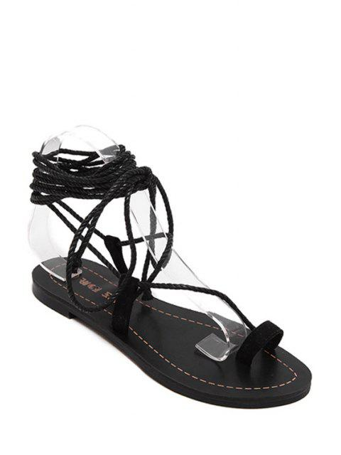 unique Flat Heel Toe Loop Lace-Up Sandals -   Mobile