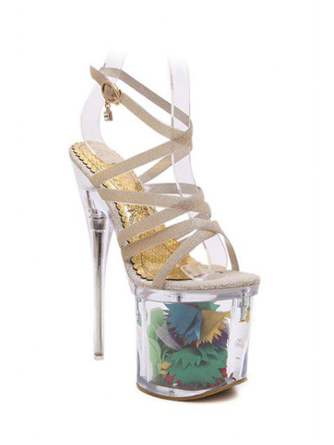 trendy Sequined Cross-Strap Super High Heel Sandals - GOLDEN 37 Mobile