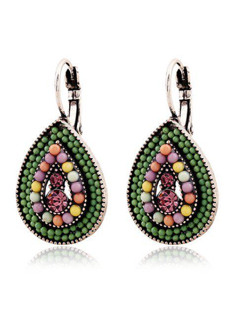 best Bead Water Drop Pendant Earrings - GREEN  Mobile