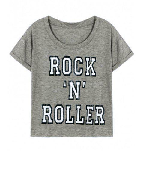 shop Letter Printed Round Neck Short Sleeve T-Shirt - GRAY S Mobile