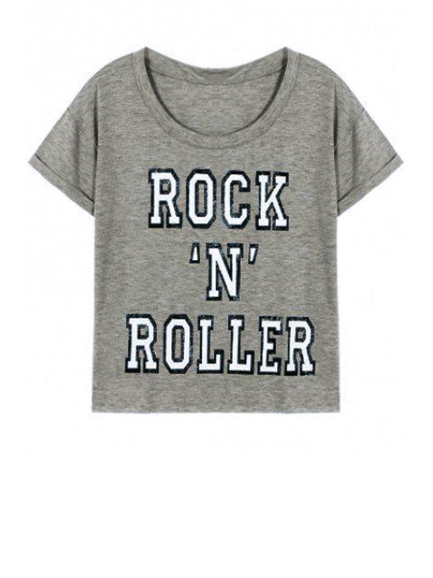 Neck Lettre Imprimé ronde manches courtes T-shirt - Gris L Mobile