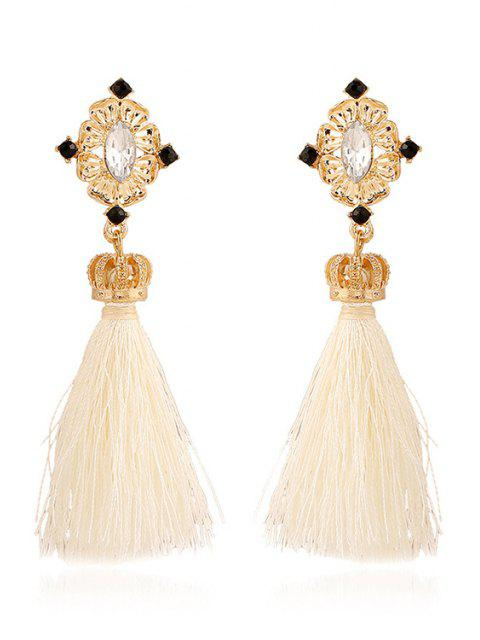 fancy Rhinestone Crown Tassel Pendant Earrings -   Mobile
