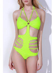 Hollow Halter High Waist One-Piece Swimwear - Green L