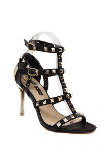 Buy Rivet T-Strap Stiletto Heel Sandals - BLACK 35