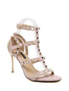 Buy Rivet T-Strap Stiletto Heel Sandals - PINK 39