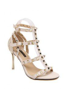 Buy Rivet T-Strap Stiletto Heel Sandals - OFF-WHITE 35