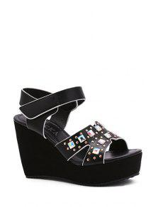 Buy Rivet Platform Wedge Heel Sandals - BLACK 38