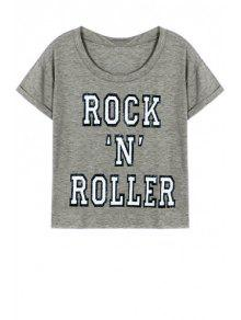 Letter Printed Round Neck Short Sleeve T-Shirt - Gray L
