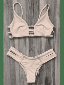 محبوك ضمادة بيكيني ملابس السباحة - مصفر الوردي M