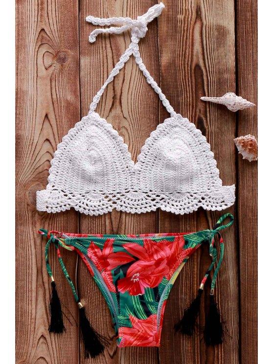 Ganchillo halter imprimió el sistema del bikini - Blanco Un tamaño(Montar tam