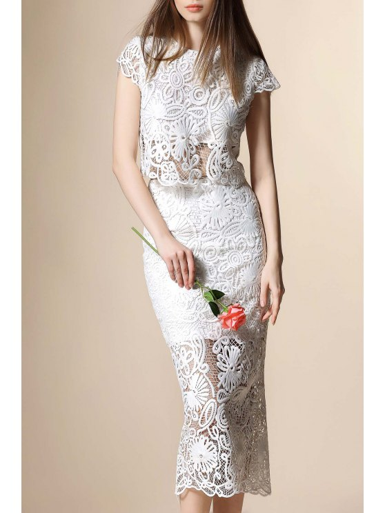 ab964fd0bebd0d 30% OFF] 2019 Guipure Lace Crop Top And Tube Skirt Twinset In WHITE ...