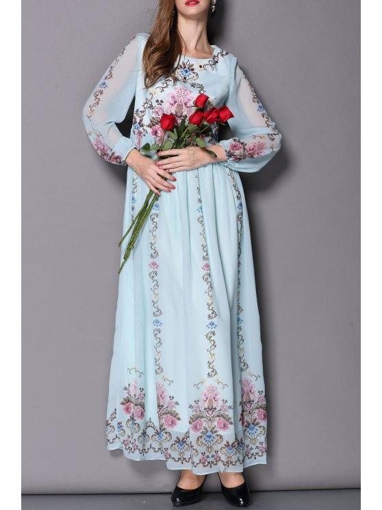 f86197610806 31% OFF] 2019 Flowy Floral Formal Dress In LIGHT BLUE | ZAFUL