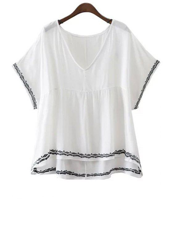 Broderie V-Neck Batwing manches T-shirt - Blanc L