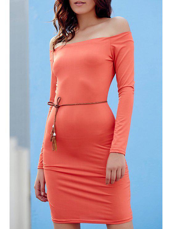 Color sólido del hombro largo de la manga Vestido ajustado - Jacinto XL