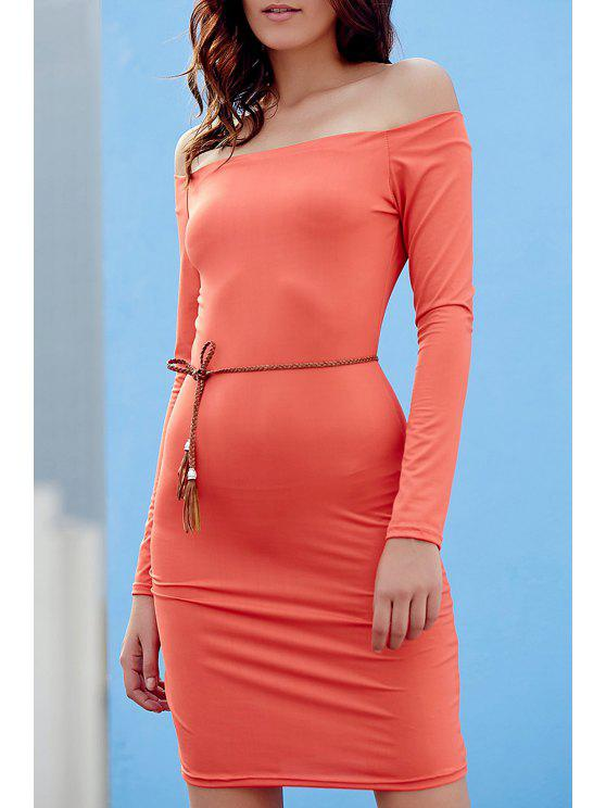 trendy Off The Shoulder Sheath Long Sleeve Dress - JACINTH XL