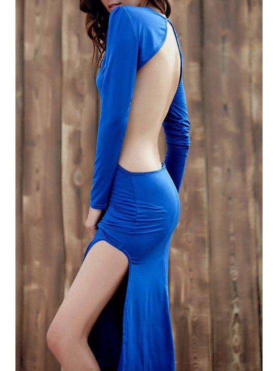 عارية الذراعين جولة طوق كم طويل الجانب الشق فستان ماكسي - أزرق L