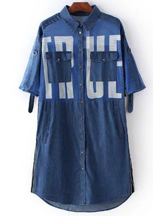 Brief-Druck-Hemd-Kragen 3/4 Hülsen-Mesh-Shirt-Kleid - Blau M