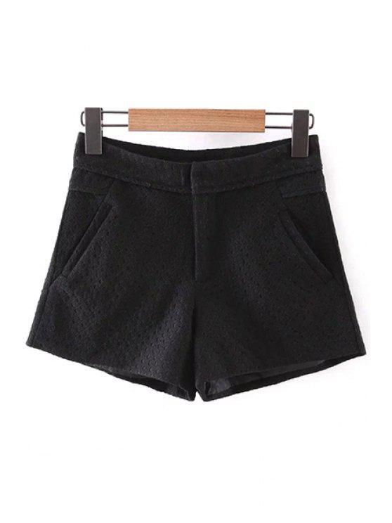 ladies Lace Solid Color Pockets Shorts - BLACK L