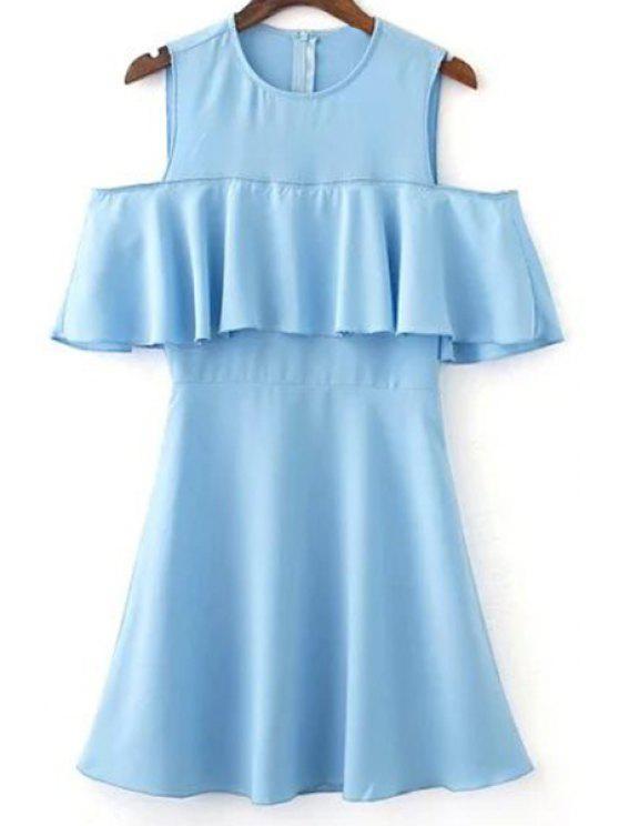 Volantes vestido de hombro cuello de la joya fría empalmado - Azul Claro L