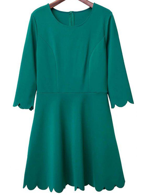 online Solid Color Round Neck 3/4 Sleeve A Line Dress - GREEN M