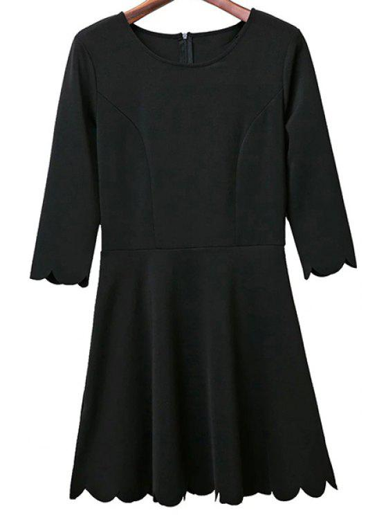 lady Solid Color Round Neck 3/4 Sleeve A Line Dress - BLACK L