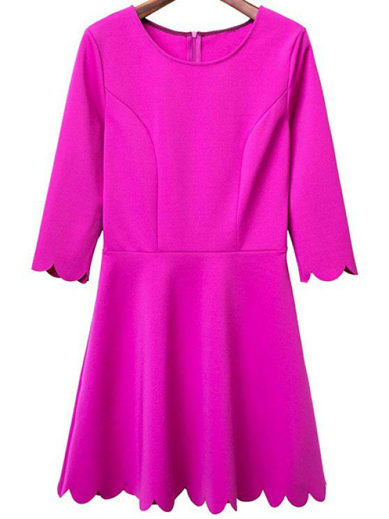 women Solid Color Round Neck 3/4 Sleeve A Line Dress - ROSE L