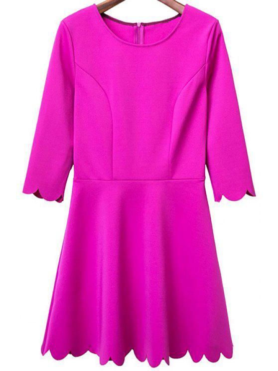 Cor sólida em torno do pescoço 3/4 manga um vestido de linha - Rosa S