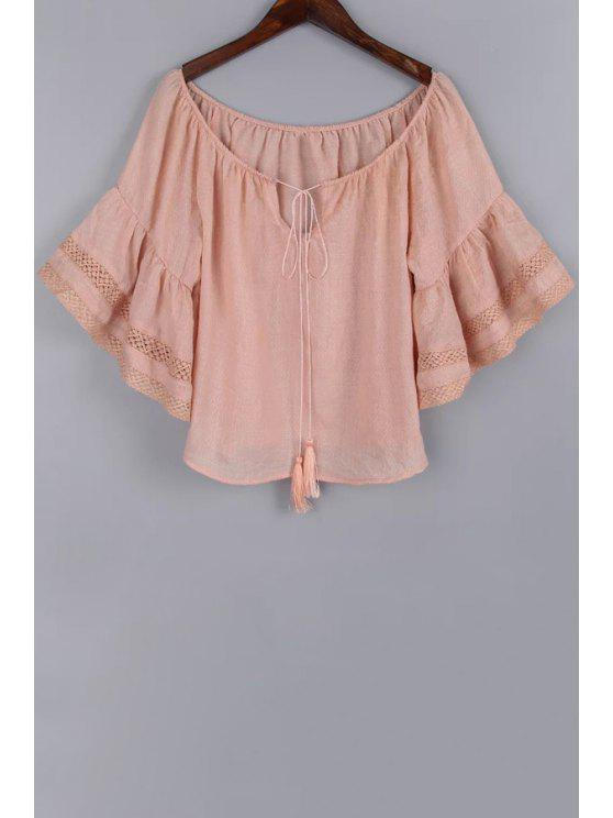 fashion Bell Sleeve Lace Trim Pink Blouse - PINK S