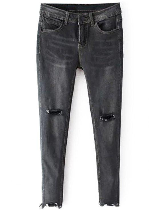 hot Distressed Cropped Skinny Jeans - GRAY S