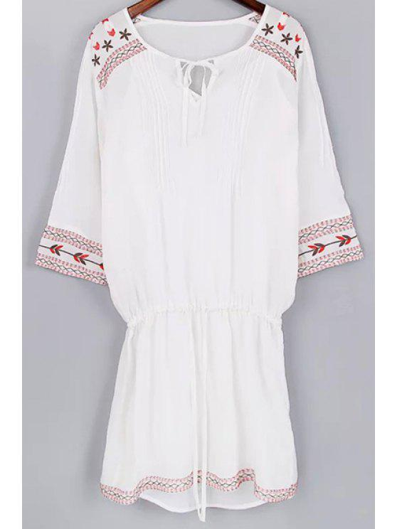 shop Cami Tank Top and Drawstring Embroidery Dress Twinset - WHITE L