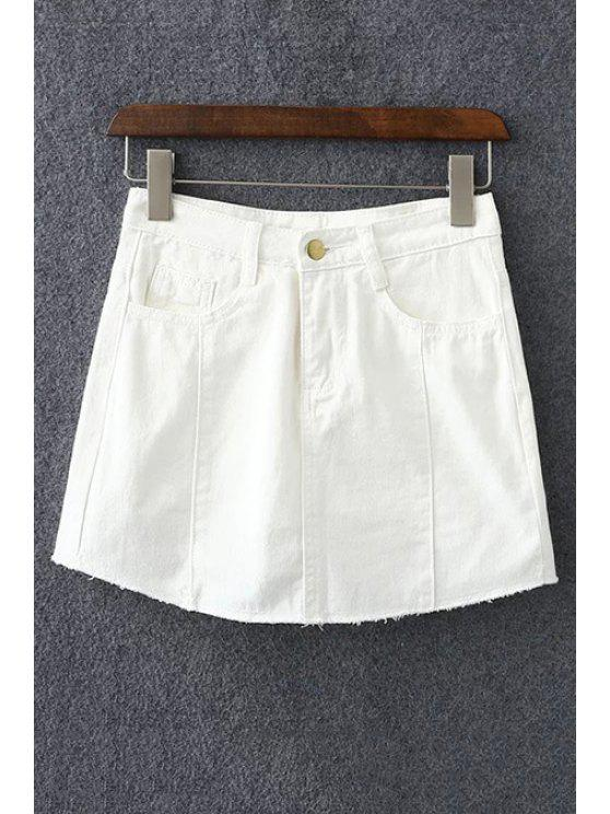 d1231dee2 33% OFF] 2019 Solid Color Pockets Denim Mini Skirt In WHITE   ZAFUL