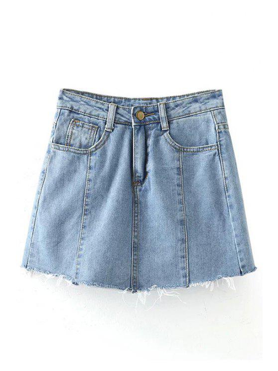 solid color pockets denim mini skirt light blue skirts xl