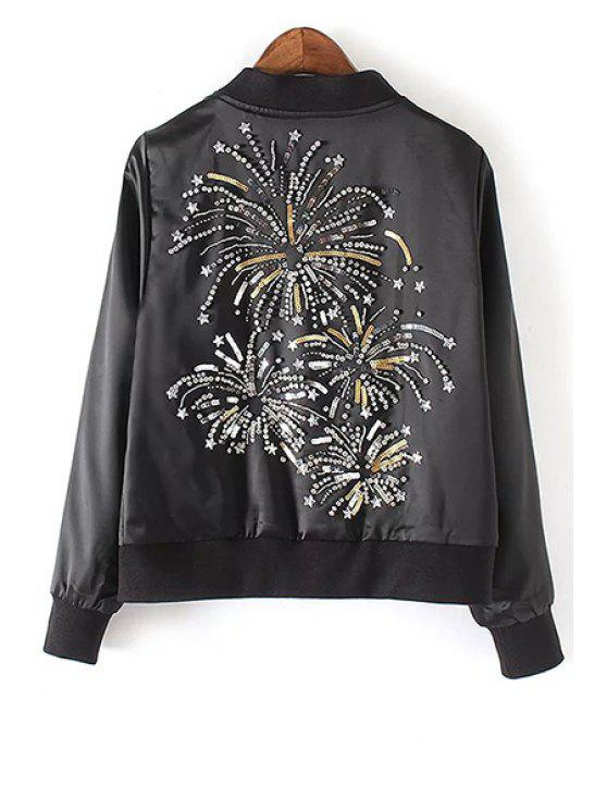 best Sequins Stand Collar Long Sleeve Embroidery Jacket - BLACK S