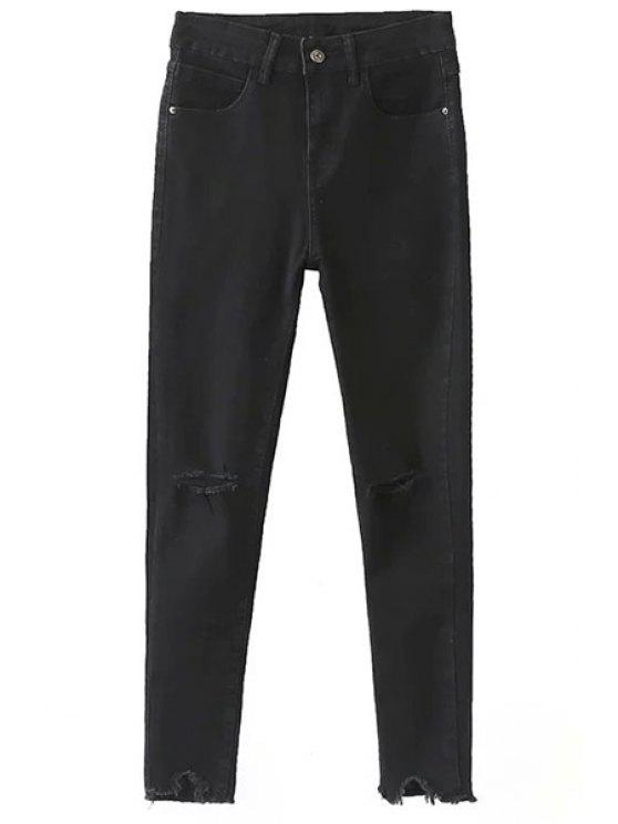 online Slimming Ripped Solid Color Jeans - BLACK 2XL