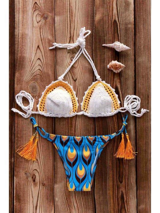 Stampato all'uncinetto Bikini - Bianca Tagia Unica ( dimensioni XS a M )