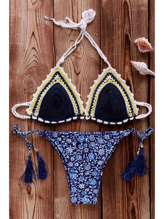 Bikini en crochet à motif floral - Bleu Violet Taille Unique(S'adap