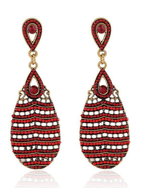 shop Beaded Water Drop Pendant Earrings - RED