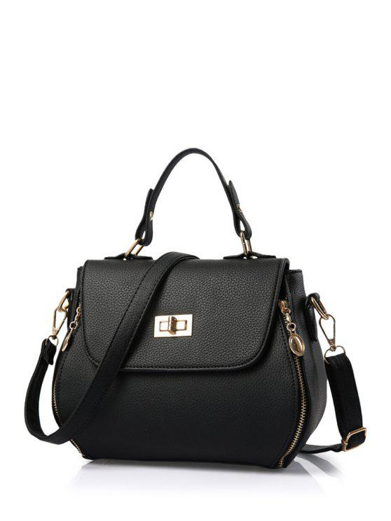 online Hasp Solid Color PU Leather Tote Bag - BLACK