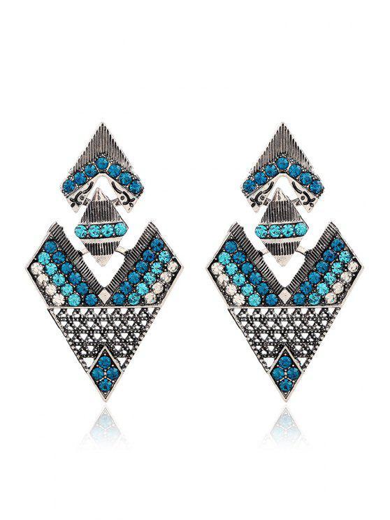 new Rhinestone Inverted Triangle Pendant Earrings - GREEN