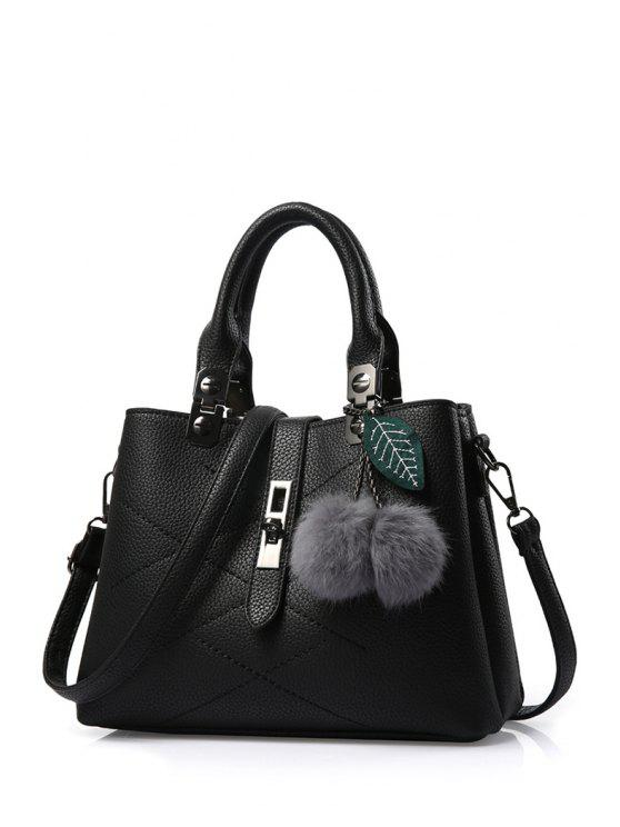 womens Pompon Checked PU Leather Tote Bag - BLACK