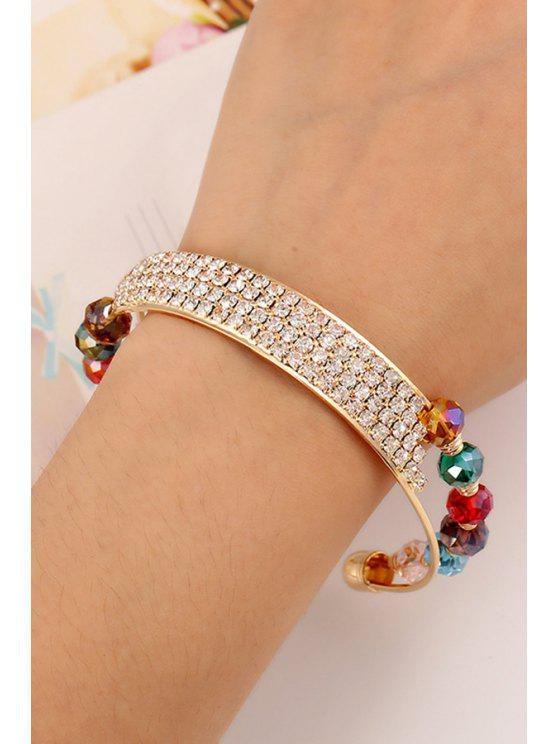 trendy Rhinestone Faux Crystal Cuff Bracelets - GOLDEN