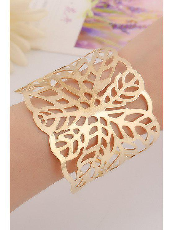 outfits Hollow Out Leaf Cuff Bracelets - GOLDEN