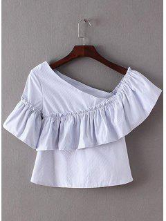 Sweet One-Shoulder Frilly Women's Stripe Peplum Top - Light Blue Xs