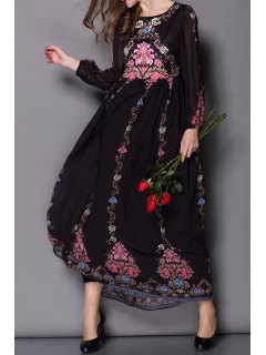 Flowy Floral Formal Dress - Black S