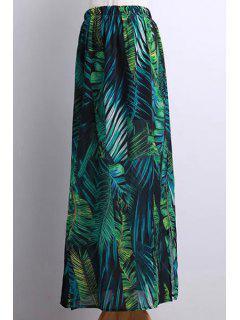 Side Slit Bohemian Tropical Leaf Print Skirt - Green M