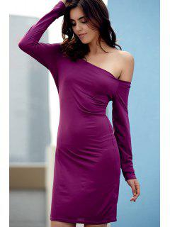 Off The Shoulder Sheath Long Sleeve Dress - Purple L